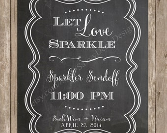 Custom Chalkboard Sparkler Sendoff Sign Printable