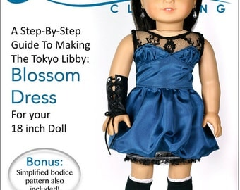 Pixie Faire Liberty Jane Blossom Dress Doll Clothes Pattern for 18 inch American Girl Dolls - PDF