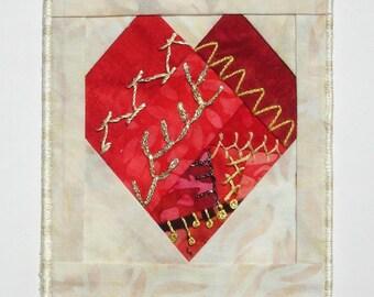 Batik Heart Crazy-Quilt Postcard