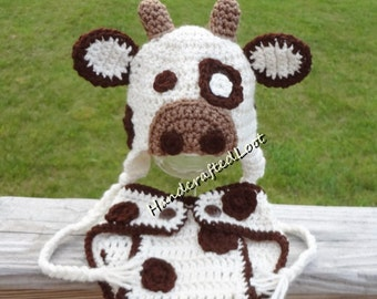 Newborn Baby Crochet Cow Photo Prop Outfit Braided Earflap Hat Diaper Cover Set Shower Gift 0-3 Months