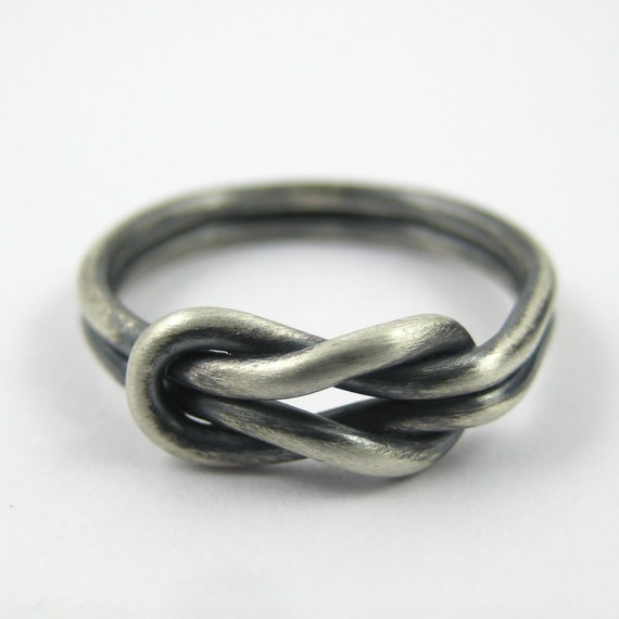 chunky silver infinity ring knot ring reef knot ring