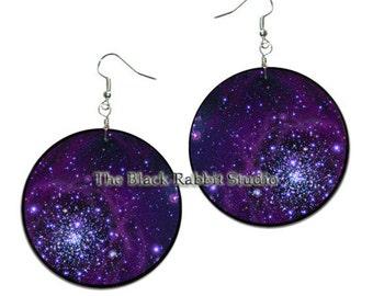 Orion - handmade earrings - decoupage, ORION NEBULA EARRINGS Astronomy Jewelry