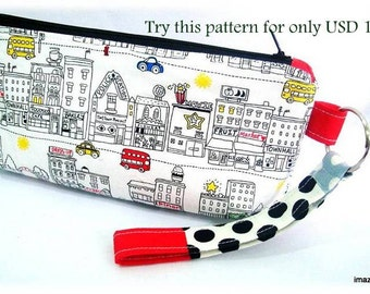 zippered pencil case-  easy to make. a simple project for beginners. Instructions on how to make your own pattern. Only for USD1.99. Try it!
