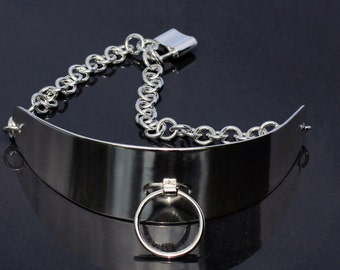 BDSM Collar, Sterling Silver, Collar Necklace, Semi Posture Style, Sterling Silver Padlock Clasp, Handmade.