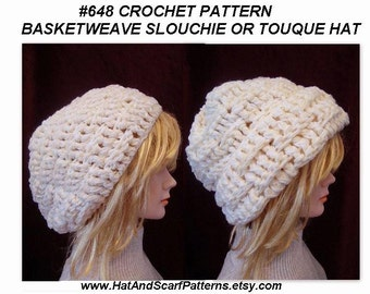 CROCHET PATTERN, Basketweave Slouchie Hat, Touque, or Over-Sized Beanie, # 648, adult women's size, instant download pdf, womens accessories