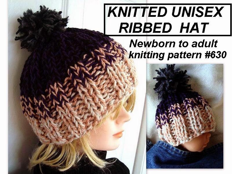 Ribbed Baby Beanie Knitting Pattern : Hat Knitting PATTERN Unisex Knitted Ribbed by HatAndScarfPatterns