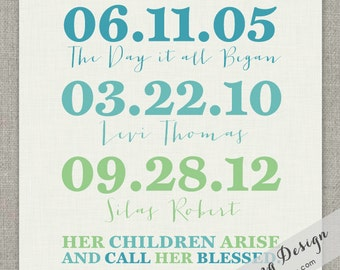Family Special Dates // Graphic Art Print // 8x10 // Proverbs 31:28 // PRINTABLE