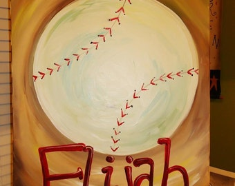 Personalized Baseball painting, perfect for little boy's room!