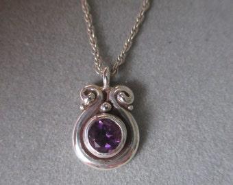 Sterling Silver Amethyst Swirl Pendant