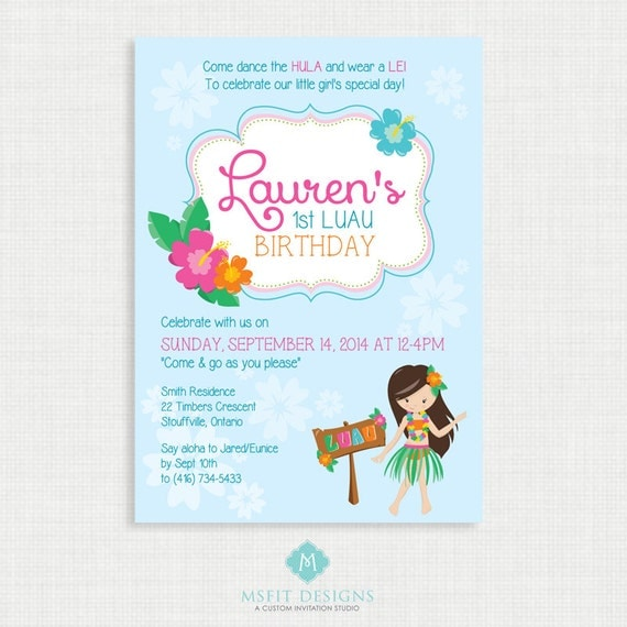 Printable Birthday Invitation- Luau Birthday Invitation, Hawaiian Birthday Party Invitations, DIY,  Printable Template, Digital
