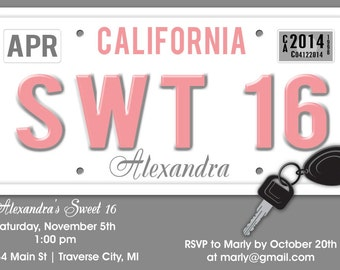 License Plate Sweet 16 Birthday Invitation - Unique Sweet Sixteen Birthday Party Printable