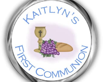 Grapes First Communion Hershey Kisses Sticker - Personalized Communion Stickers