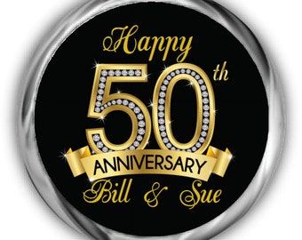 50th Anniversary Stickers • Personalized Anniversary Labels • Diamond Anniversary Sticker