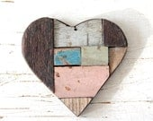 Reclaimed Wooden Heart by TentVintage- Baby Pink/ Rustic Decor, Driftwood Decor, Valentine Decor, Valentine's Day Gift