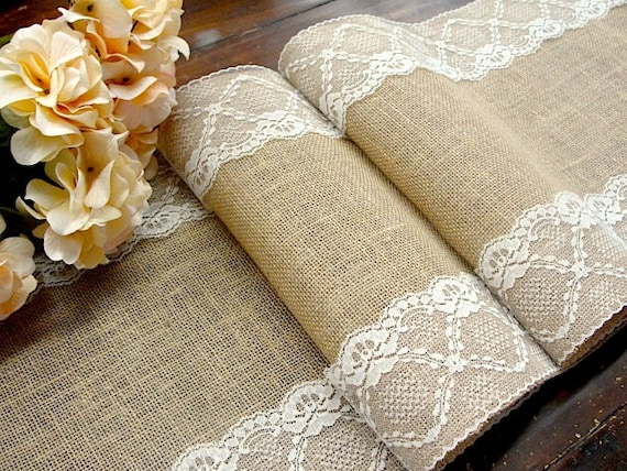 burlap and lace table runner wedding table par hotcocoadesign. Black Bedroom Furniture Sets. Home Design Ideas