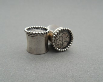 Hand forged sterling silver ear plugs for gauged ears - 00g