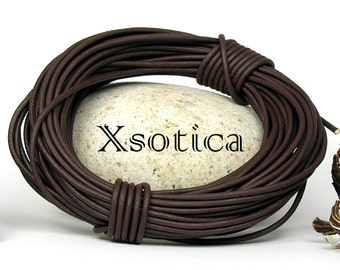 Natural Dye Brown Round Leather Cord 1.5mm 10 meters (11 yards) Lead Free
