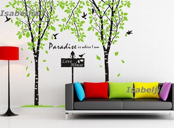Green wall decal parete adesivo muro decalcomanie di isabeljia - Stencil parete albero ...