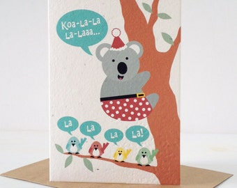 Christmas Koala & little birds - Plantable Seeded Paper Greeting Card. A card that grows!