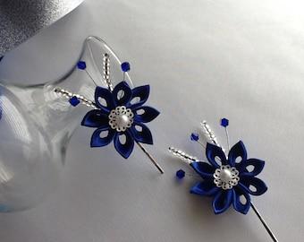 Bobby pins - Cobalt Blue Royal Blue Dark Blue Kanzashi Flowers Hair Accessories Wedding Flowers