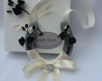 Black and Ivory Wedding Horseshoe