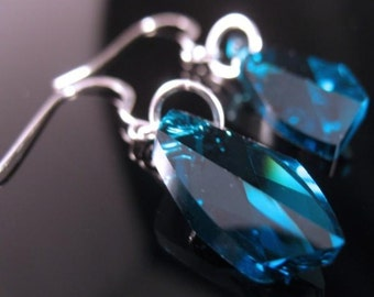 Aqua Earrings with sterling & Swarovski Crystals Rosemary Lucy Designs  jewelry women