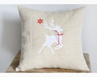 Reindeer , Embroidered Christmas pillow cover, Christmas pillow case, Christmas gift pillow cover , reindeer pillow cover
