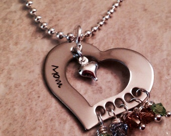 Personalized grandmother mother's necklace with Swarovski crystal birthstones