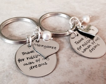 Set of mother in law keychains mother in law necklaces thank you for raising the man of my dreams woman of my dreams personalized necklace