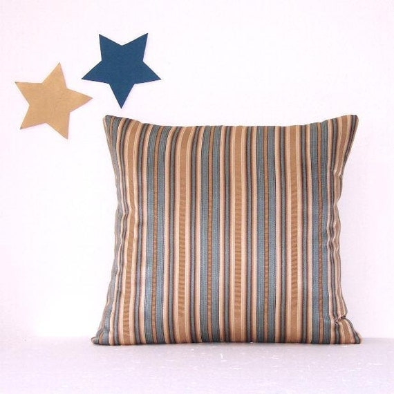 Blue Striped Throw Pillow Cover : Blue Tan Striped Pillow Cover Decorative 18 x 18 by PillowStars