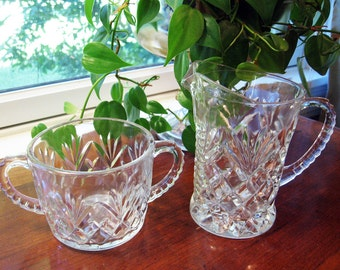Prescut PINEAPPLE Creamer Pitcher and Sugar by Anchor Hocking, sugar and cream set