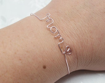 Name bracelet, Personalized bracelet, wire name bracelet, wire wrapped name, Mom, Mom bracelet, bangle, name, initials, mother's day