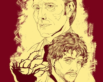 T-shirt Design of Hannibal Lecter and Will Graham from NBC's Hannibal
