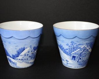 Vintage Currier & Ives blue and white flowerpots