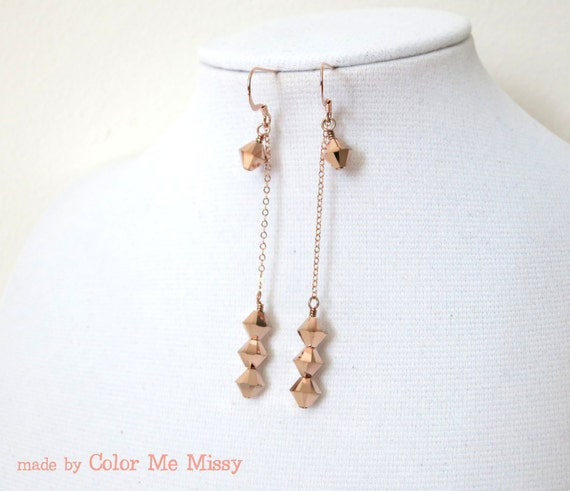 Rose Gold Earrings -rose gold filled, hand beaded, Swarovski rose gold beads, love, quirky, simple, chic, pink gold fashion, everyday pretty