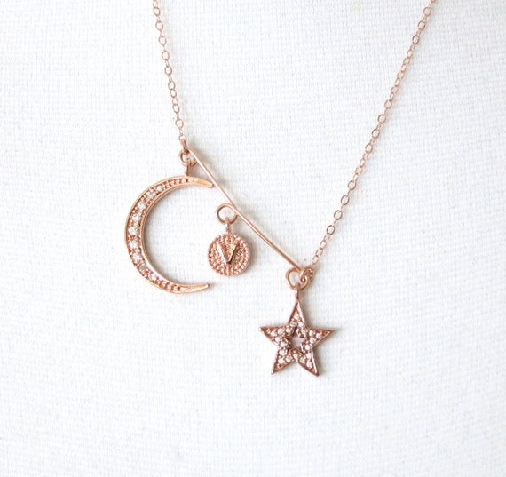 Love you to the Moon and Back necklace - Cubic Zirconia star and crescent moon, Personalized simple rose gold filled chain necklace, friends