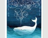 Whale art print giclee nautical wall decor painting watercolor nursery art kids illustration by VApinx