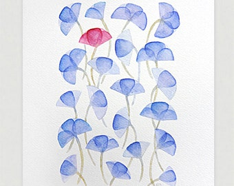 Violet flowers watercolor painting original purple art illustration home decor wall hanging  A4 by VApinx