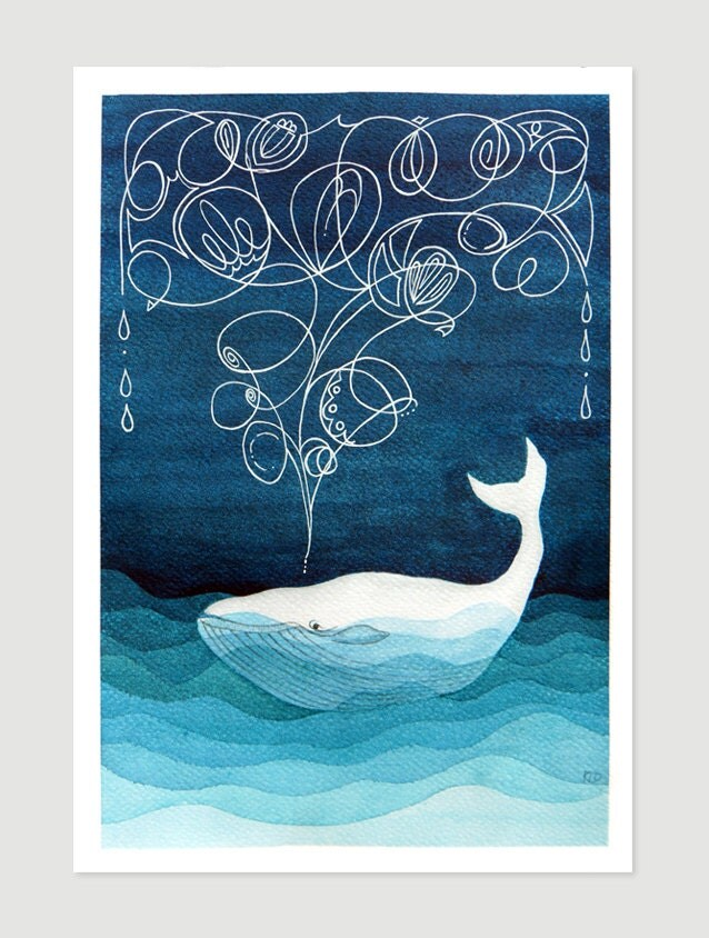 Whale Art Print Giclee Nautical Wall Decor Painting Watercolor