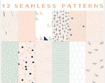 Bows, Arrows & Pretty Little Things - JPG files - Seamless Patterns - Digital Scrapbook - Blog Backgrounds - Paper Pack