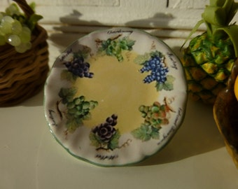 Vintage Grapes Plate for Dollhouse