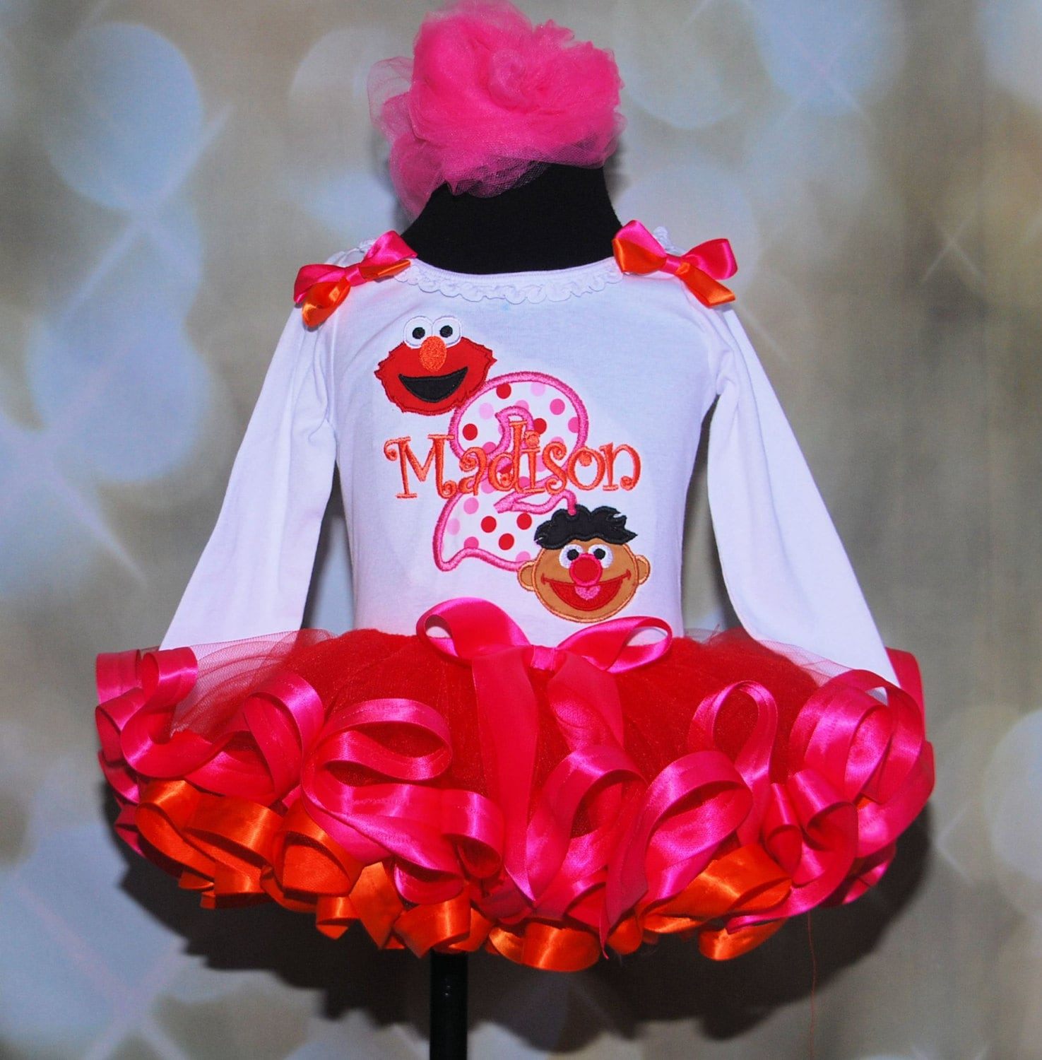 Double Cute Elmo And Ernie Second Birthday Tutu Outfit 2