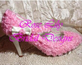 pink flower rosette  heeled shoes