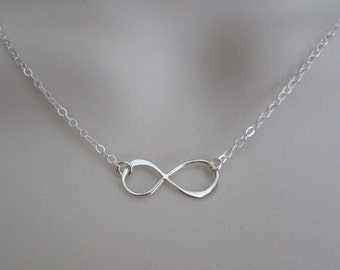 Infinity Necklace. Sterling Silver Jewelry. Sterling Silver Infinity Pendant. Dainty Layer Necklace. Bridesmaid Necklace. Bridal Jewelry.
