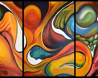 Abstract Surreal Triptych acrylic on canvas