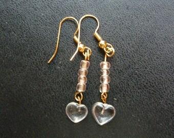 Clear Heart Drop Earrings