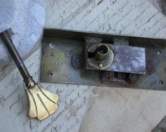 french antique Lock key solid bronze stainless steel ornate art nouveau Paris Locket signed E & R gold key locket