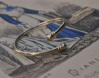 French vintage sterling silver ball adjustable bracelet sanke bracelet art deco design bracelet