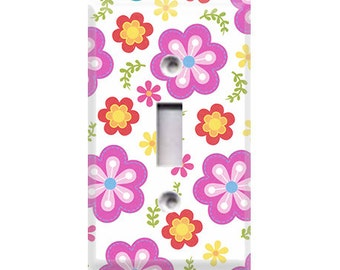 Hootenanny - Pink Flowers Light Switch Cover