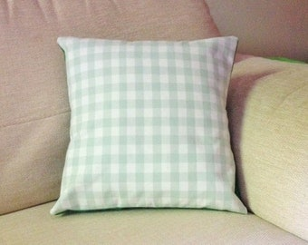 Green gingham check cushion - Handmade - 30x30cm